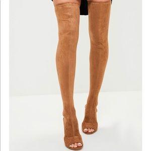 Hot! Missguided Tan Peep Toe Over the Knee Sz 7